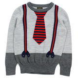Grey Fake Tie And Braces Wool Blend Sweater