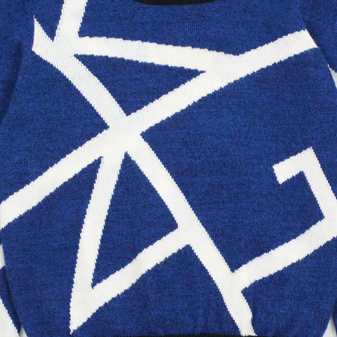 Blue KING Geometric Pattern Wool Blend Sweater