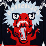 Navy HALLELUJAH T-Rex Wool Blend Sweater