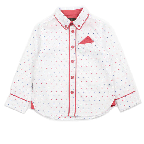 White Polka Dots With Piping Detail Shirt
