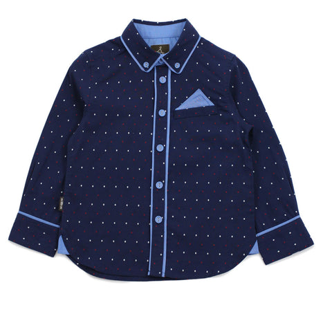 Navy Polka Dots With Piping Detail Shirt