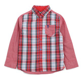 Red Solid Panel Check Shirt