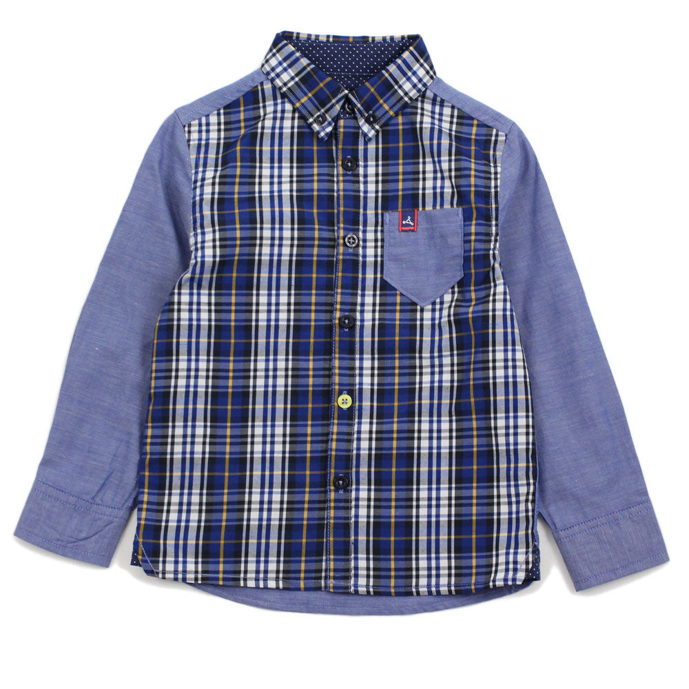 Navy Solid Panel Check Shirt