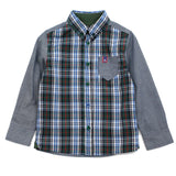 Green Solid Panel Check Shirt