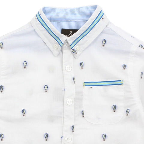 White Ballon Pattern Cotton Shirt