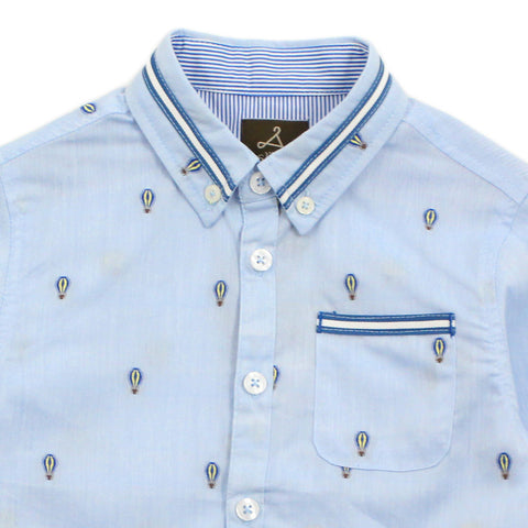 Blue Ballon Pattern Cotton Shirt