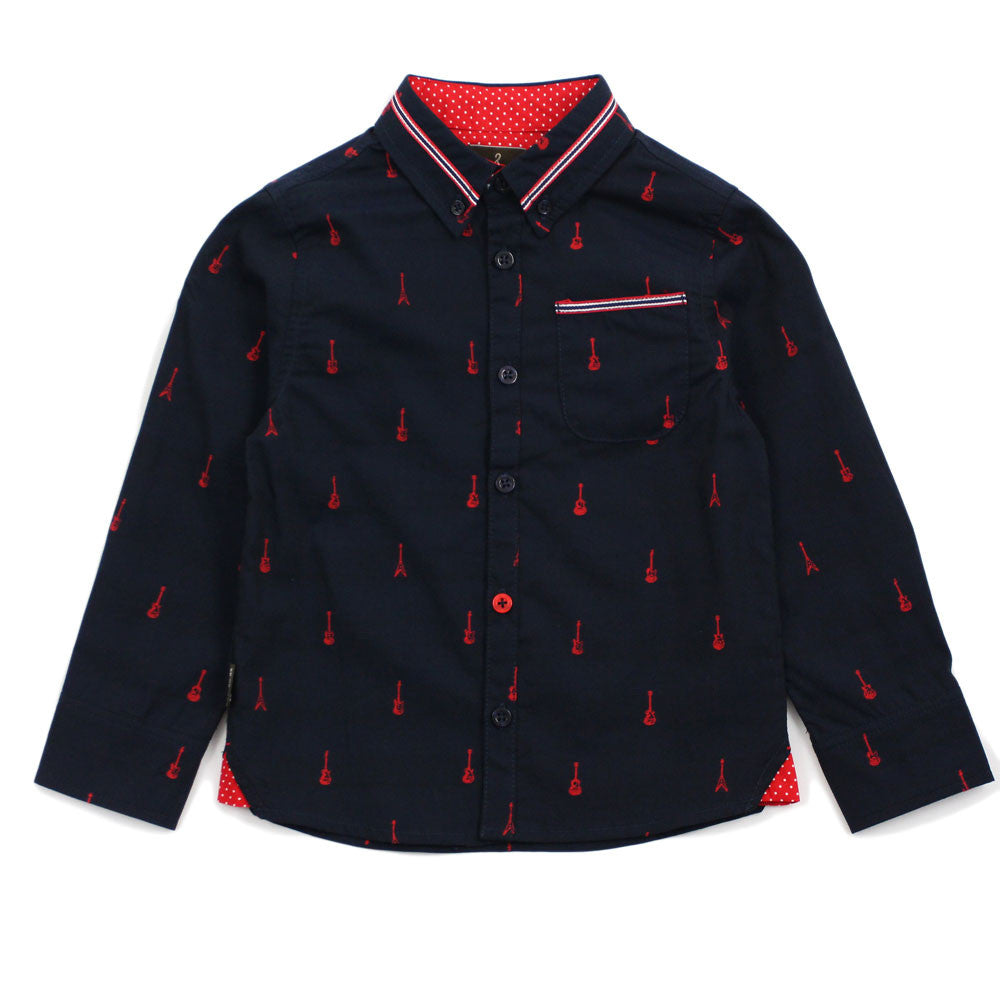 Navy Guitar Pattern Cotton Shirt