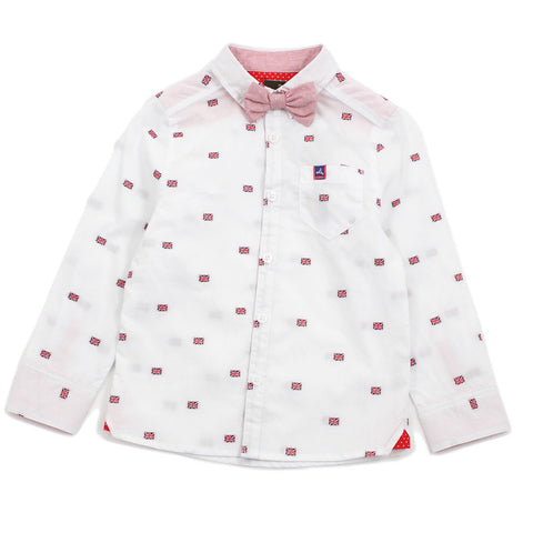 White England Flag Cotton Shirt With Bow Tie