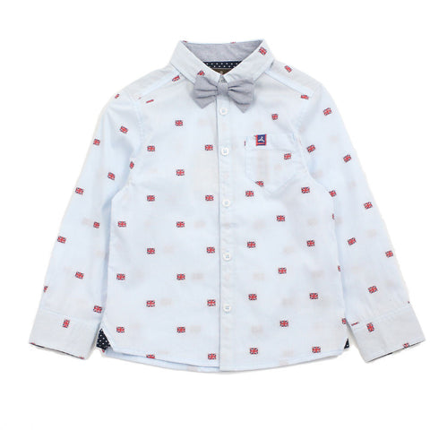 Blue England Flag Cotton Shirt With Detachable Bow Tie