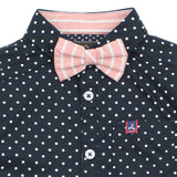 Navy Polka Dots Cotton Shirt With Detachable Bow Tie