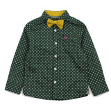 Evergreen Polka Dots Cotton Shirt With Detachable Bow Tie