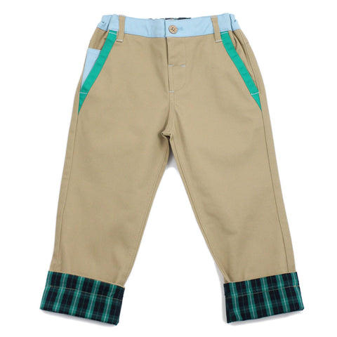 Brown Straight Leg Color Panel Pants