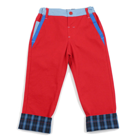 Red Straight Leg Color Panel Pants