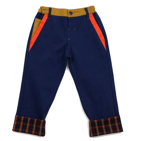 Navy Straight Leg Color Panel Pants