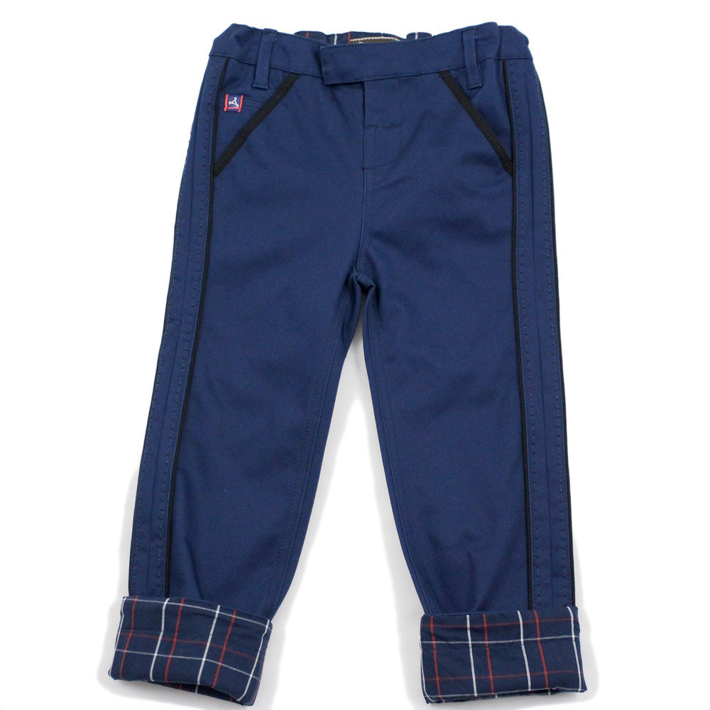 Navy Pick Stitch Detail Pants