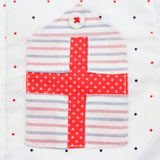 White Polka Dots Striped Sleeves Shirt