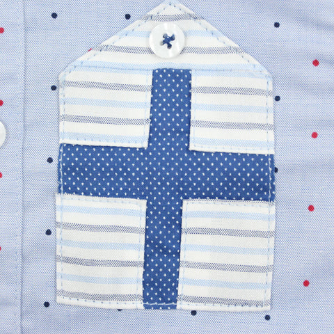 Blue Polka Dots Striped Sleeves Shirt