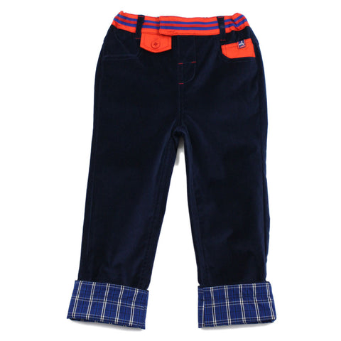Navy Velvet Rollup Brushed Pants