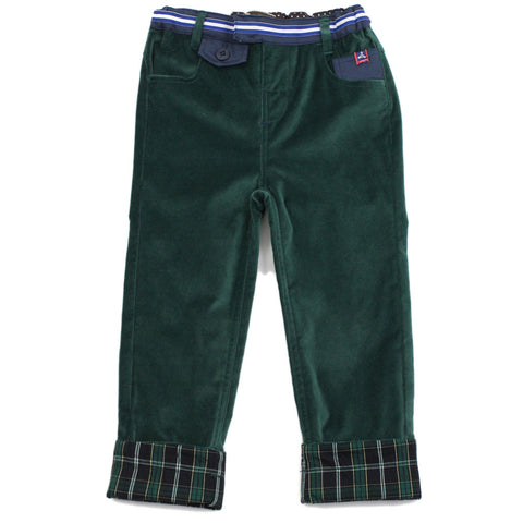 Green Velvet Rollup Brushed Pants