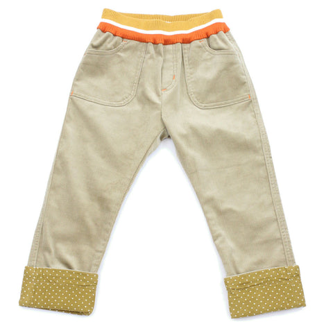 Taupe Striped Waistband Corduroy Roll Up Pants