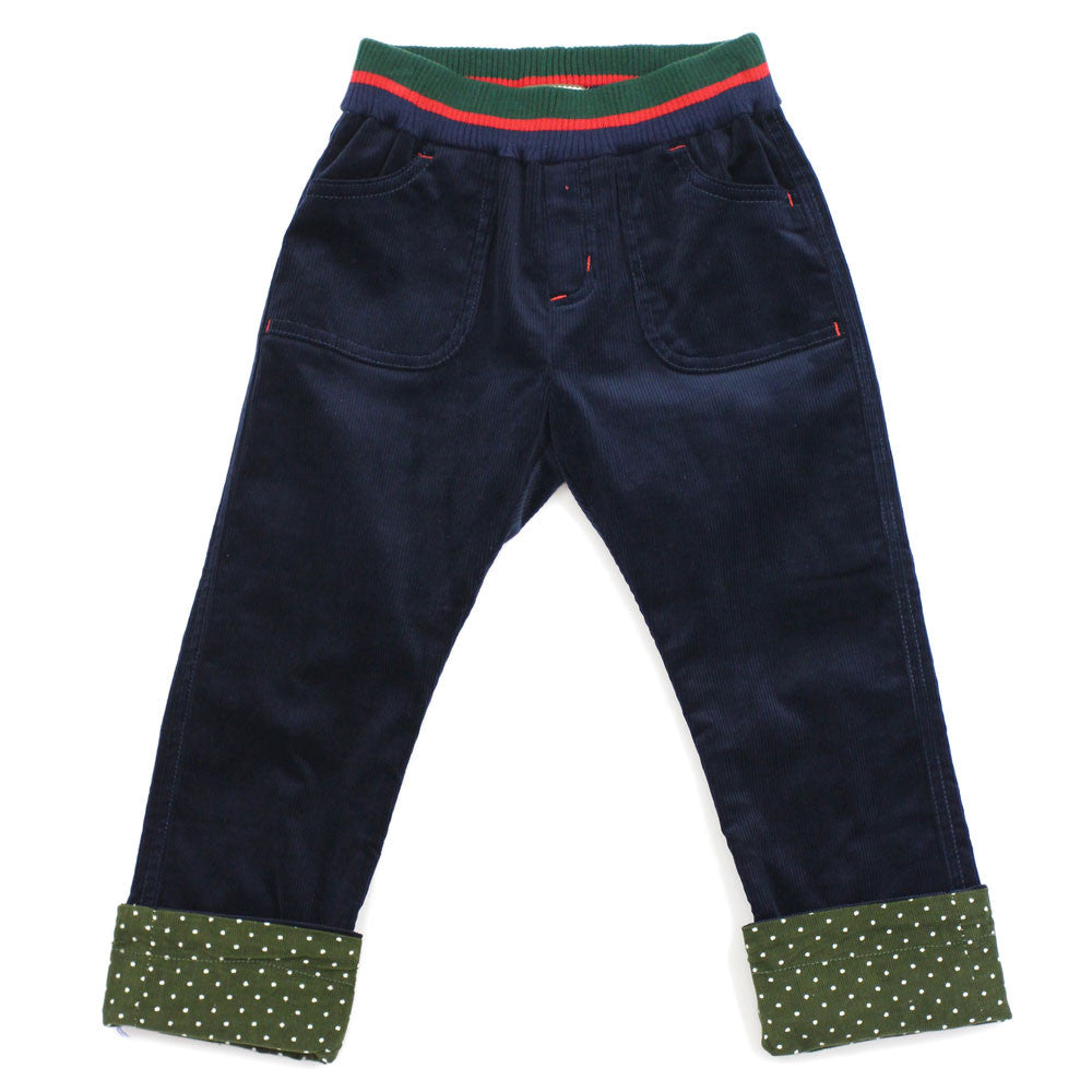 Blue Striped Waistband Corduroy Roll Up Pants