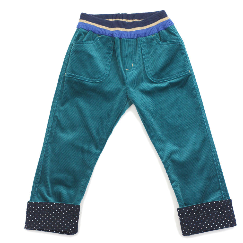 Green Striped Waistband Corduroy Roll Up Pants