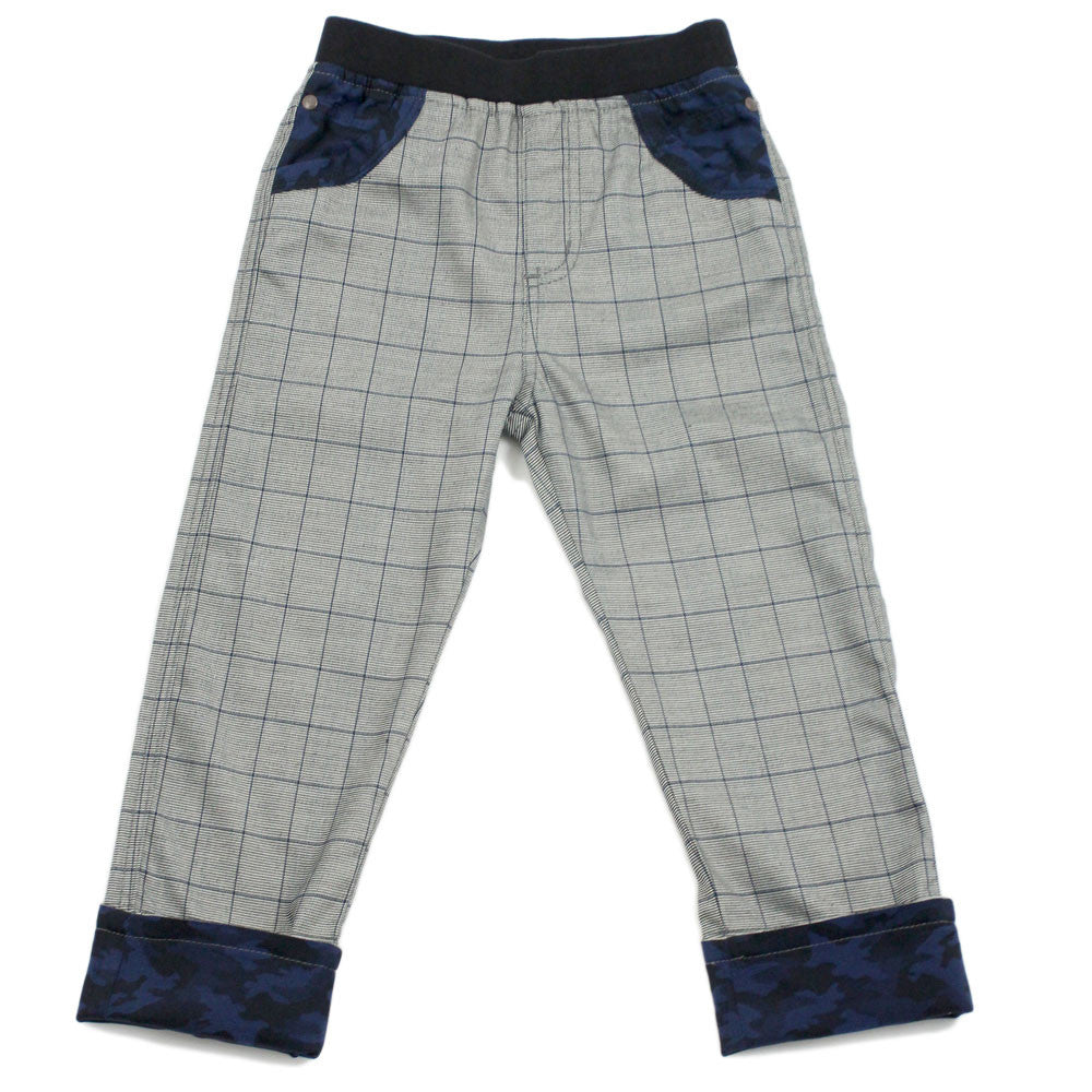 Grey Checkers Elastic Waistband Rollup Chinos