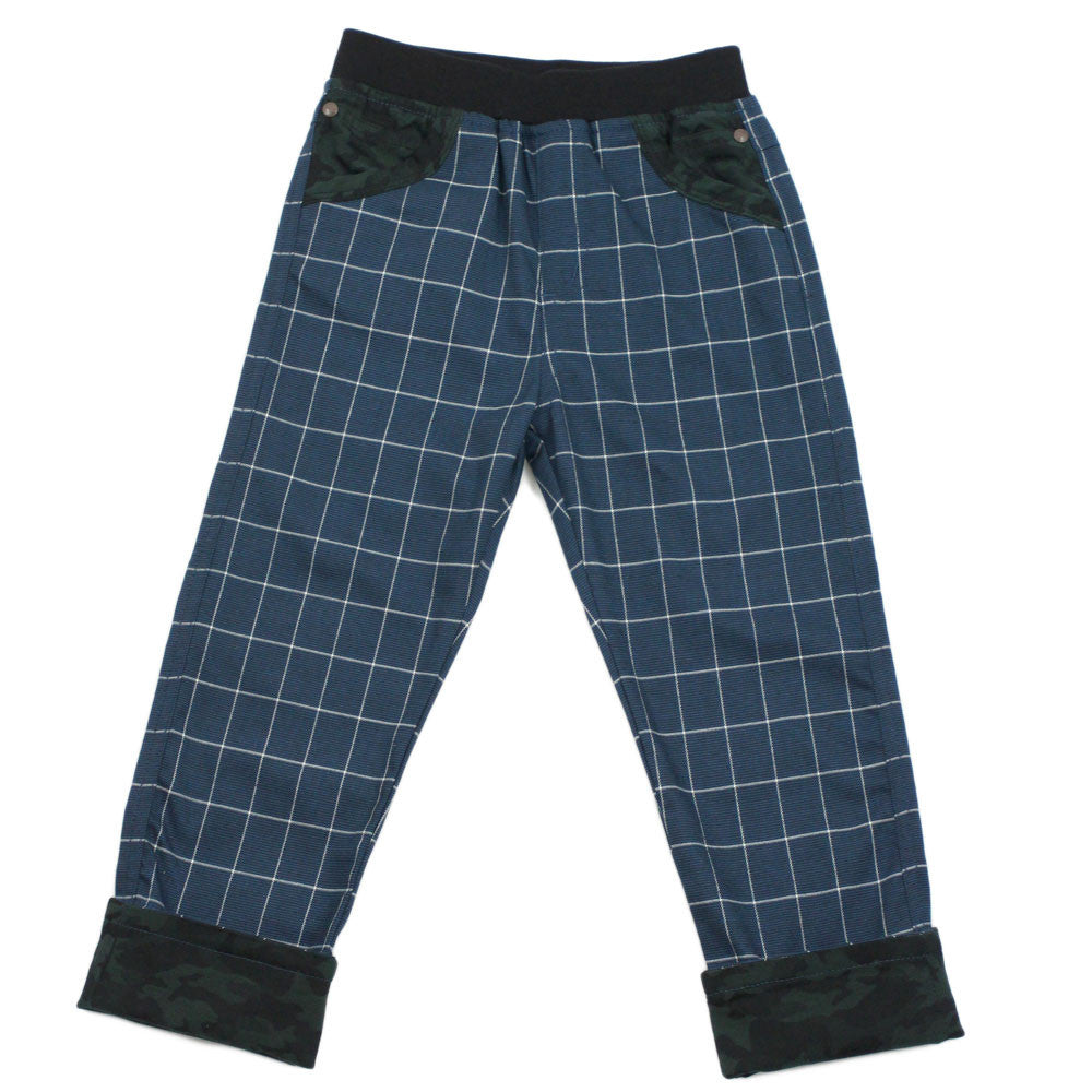 Blue Checkers Elastic Waistband Rollup Chinos