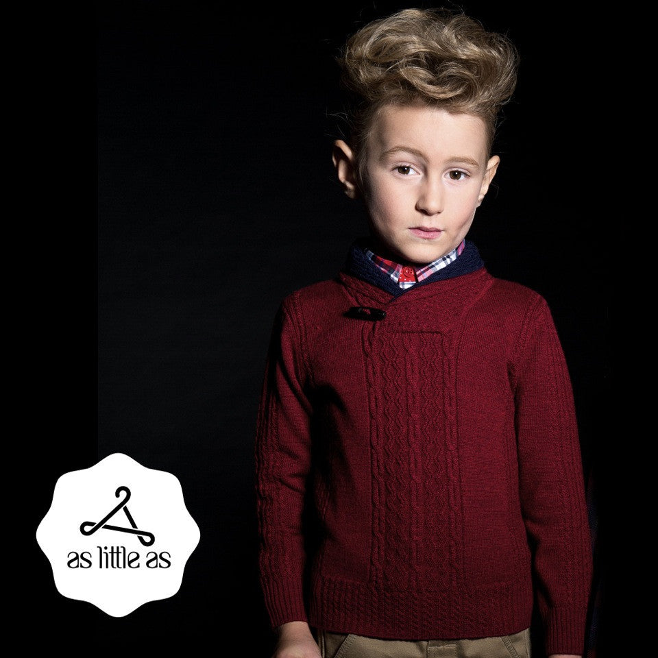 Burgundy Double Shawl Collar Sweater