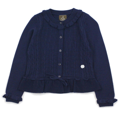 Navy Floral Stitch Wool Blend Cardigan