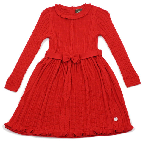 Red Floral Stitch Wool Blend Dress With Belt