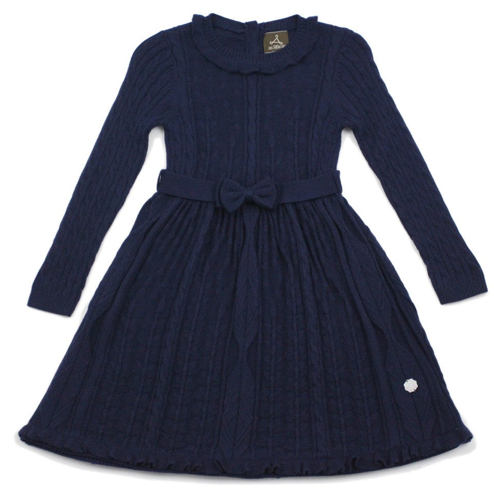 Navy Floral Stitch Wool Blend Dress With Belt