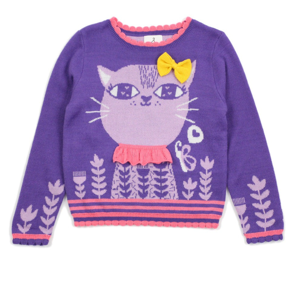 "Purple ""God Bless"" Cat With Bow Wool Blend Sweater"