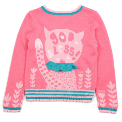 "Pink ""God Bless"" Cat With Bow Wool Blend Sweater"