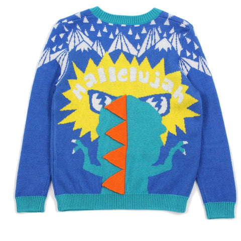 Blue HALLELUJAH T-Rex Wool Blend Sweater
