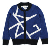 Blue KING Geometric Pattern Wool Blend Cardigan