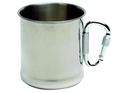 BC Mug stainless steel with carabiner 300ml