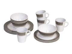 Bo-Camp Dinner set 16 pcs, melamine (Grey or Blue striped)