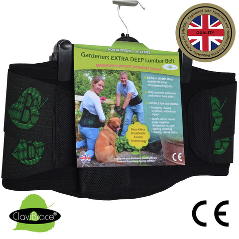 Gardeners Lumbar Belt MAXIMUM Support with Pouch & Clip (LEAF side-pulls) by ClaviBrace®