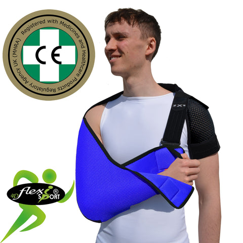 ADULT BLUE Arm Sling, NECK PAIN PREVENTION DESIGN by 4DflexiSPORT®