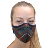 Superior Reusable Facemask Respiratory Face Covering in TARTAN by 4DflexiSPORT®