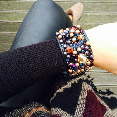 LVBT Black Crystal Beaded Cuff