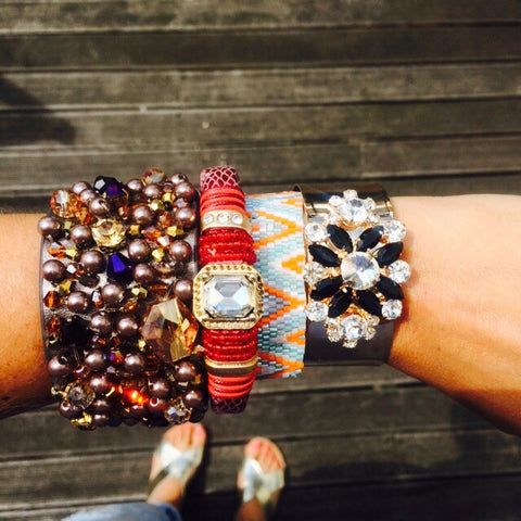 Wearing our LVBT stacked bracelets