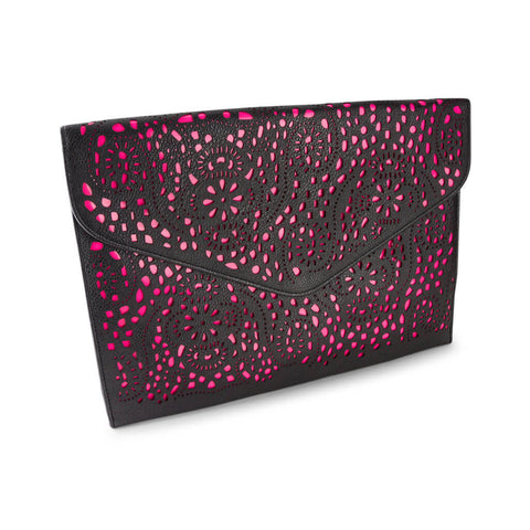 Michelle Black and Neon Pink Clutch Bag at LVBT