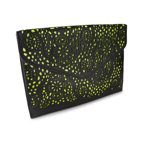 Michelle Black and Neon Yellow Clutch at LVBT