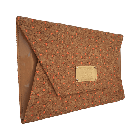 Emma Coral Envelope Cork Clutch at LVBT