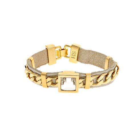 Gold and Tan Cocktail Bracelet
