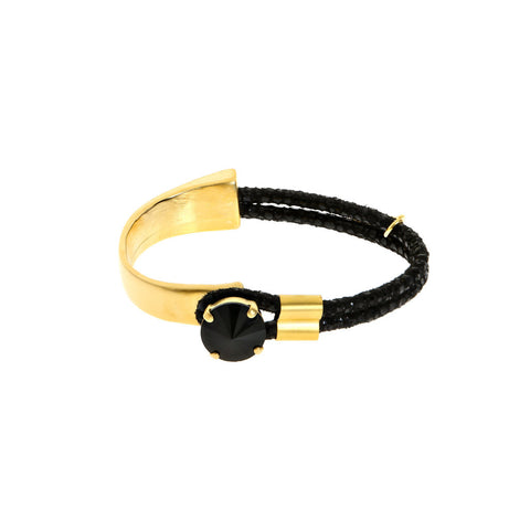 Hagar Satat Gold and Black Queen Stone Bracelet at LVBT