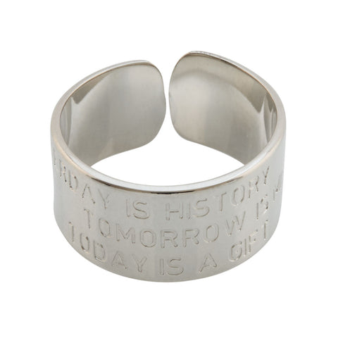 MYA BAY Silver Yesterday is History - Tomorrow is Mystery - Today is a Gift Ring at LVBT
