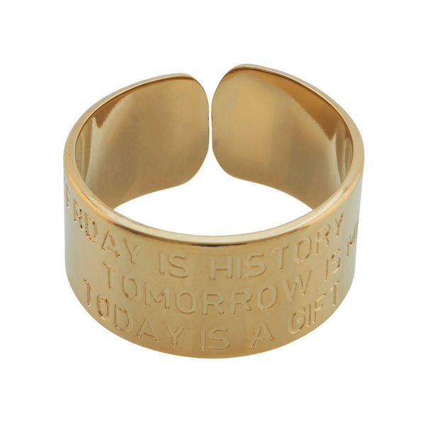 MYA BAY Gold Yesterday is History - Tomorrow is Mystery - Today is a Gift Gold Ring at LVBT